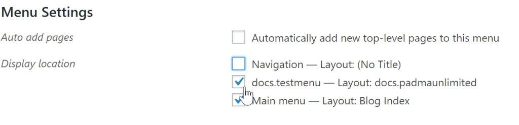 Menu settings - WordPress